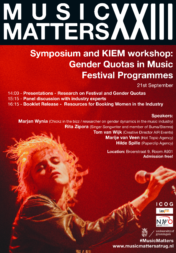Gender Quotas in Music Festivals Workshop – Sept 21, 2018 – University of Groningen