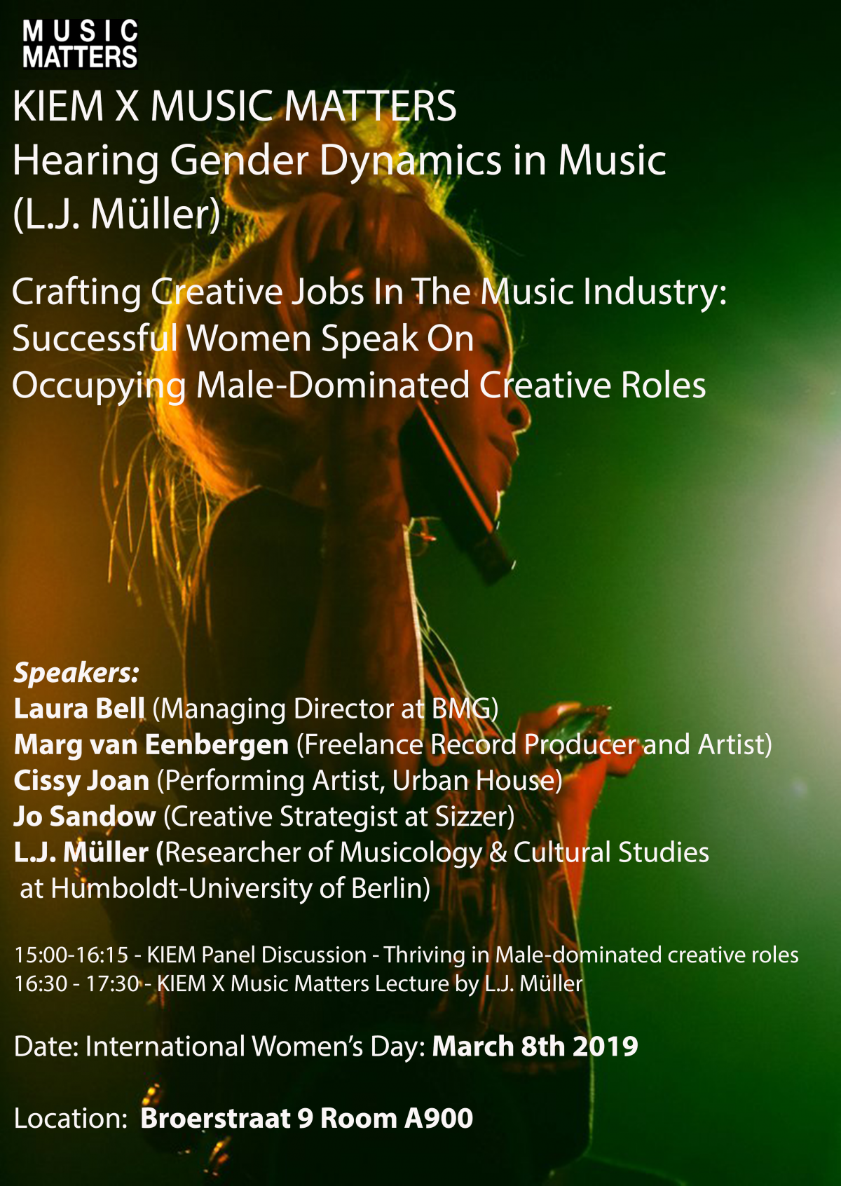 "Friday March 8th – In Honor of International Women's Day – Panel on ""Crafting Creative Jobs in the Music Industry"" and Lecture ""Hearing Gender Dynamics in Music"""